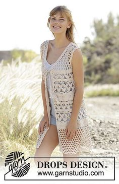 """Crochet DROPS vest with A-shape, lace pattern and ties in """"Belle"""". Size S-XXXL. Design stricken Summer Bliss Vest pattern by DROPS design Gilet Crochet, Crochet Vest Pattern, Crochet Jacket, Cardigan Pattern, Crochet Cardigan, Crochet Shawl, Knit Crochet, Free Pattern, Crochet Patterns"""