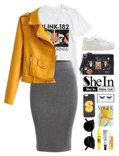 """""""that bad ass / SHEIN SKIRT"""" by luizajarosa ❤ liked on Polyvore featuring Fendi, Huda Beauty, Art for Life, Maybelline and Burt's Bees"""
