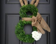 Easter Wreath. Moss Covered Bunny with by PrivilegedDoor on Etsy