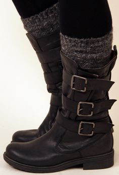 Brown Burnish Buckle Boots at Nectar Clothing