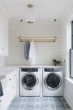 Since it's a job that literally is never complete. My advice is to at least love the space it all happens in. I think this laundry room in our Inverway project fits the bill. Wall Mounted Drying Rack, Hanging Drying Rack, Hanging Rail, Drying Racks, Laundry Nook, Laundry Room Storage, Laundry Hacks, Laundry Basket, Sweater Drying Rack