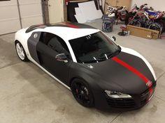 Partial wrap, matte black, with underlays of carbon fiber vinyl to ...