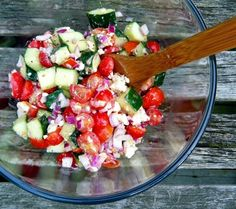 Cherry tomato, cucumber, and feta salad