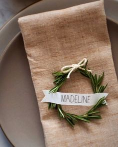 This placesetting—complete with rosemary wreath placecards tutorial—is the ultimate in Scandinavian simplicity. Christmas Table Settings, Christmas Tablescapes, Holiday Tables, Christmas Carol, Christmas Wreaths, Christmas Decorations, Xmas, Seasonal Decor, Holiday Decor
