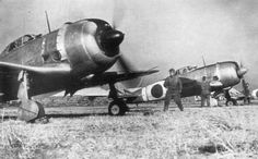 Nakajima Ki-44 of 47 Sentai, preparing for takeoff at the airfield of Narimasu, Japan against the incursions of the B-29 early 1945