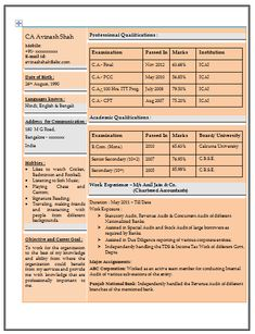 Resume Sample for Experienced Chartered Accountant (1)