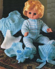 Image result for knit baby doll clothes patterns 12 inch
