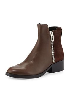 Alexa+Zip+Leather+Ankle+Bootie,+Chocolate/Espresso+by+3.1+Phillip+Lim+at+Bergdorf+Goodman.