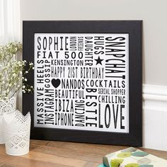 21st Birthday Gift For Her Personalised Square Word Art (black frame option). Beautiful Personalised Word Art Gifts to Commemorate a Landmark Birthday. Easy to Create, Preview on Screen Before You Buy & Fast Free Delivery. Create Now…