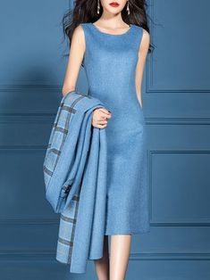 Checkered/plaid V Neck Dress with Coat Work Two-piece Set Buy Work Set For Women from SWChic at Popreason. Online Shopping Popreason Work Set For Women Blue Muslim Fashion, Hijab Fashion, Fashion Outfits, Latest African Fashion Dresses, Mode Hijab, Plus Size Maxi Dresses, Skirt Outfits, Blue Outfits, Coat Dress