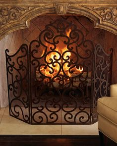 Monogrammed Fireplace Screen | Fire, Fireplace screens and Fireplaces