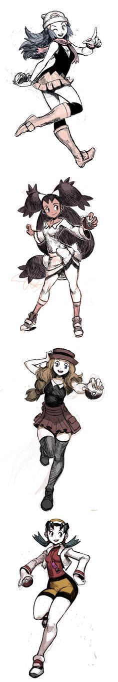 Pokemon Trainer girls: Dawn, Iris, Serena, Kris
