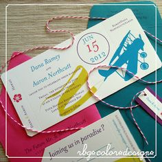RBG Color Design: a variation on the airplane ticket wedding invitations