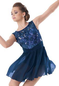 Weissman™ | Sequin Lace Fluted Hem Skirt Dress