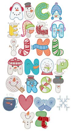 Sweet Snowmen Applique Alphabet Designs by JuJu Exclusive Hand Lettering Alphabet, Alphabet Design, Cool Lettering, Creative Lettering, Monogram Alphabet, Lettering Styles, Christmas Towels, Christmas Crafts, Embroidery Fonts