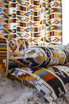 Saturday pattern on curtains and pillows from Halfdrop Beautiful Homes, Curtains, Quilts, Blanket, Pillows, Bed, Interior, Pattern, House