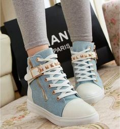 Jeans High Top Shoes With Zip Decoration