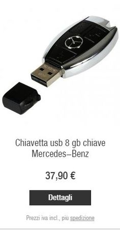 Dettagli  Chiavetta USB nera/color argento. In materiale sintetico cromato, riprende la forma della classica chiave per auto Mercedes (20% più piccola rispetto all'originale). Un regalo per veri appassionati! Capacità 8 GB. Compatibile con PC e Mac®. Cavo USB a parte.