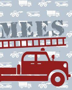 Behang auto's met brandweer en naam