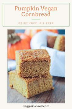 Pumpkin Maple Cornbread - a little sweet and super moist. Tastes almost more like cake than cornbread. Perfect for Thanksgiving or next to a bowl of soup or chili! It even makes a great after school snack. Can easily be made into muffins. Vegan and oil free! #cornbread #pumpkin #maple #thanksgiving #autumn #fall #oilfree #dairyfree #vegan #halloween Whole Foods Vegan, Whole Food Recipes, Vegan Recipes, Bread Recipes, Vegan Pumpkin, Pumpkin Recipes, Vegan Split Pea Soup, Vegan Cornbread, Fairy Cakes