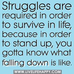 Struggles are required in order to survive in life, because in order to stand up, you gotta know what falling down is like.