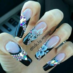 Acrylic nails allow many women to enjoy longer fingernails and creative manicures. While some women wear these nails only for special occasions, many others spo Rhinestone Nails, Bling Nails, 3d Nails, Fabulous Nails, Perfect Nails, Gorgeous Nails, Fancy Nails, Cute Nails, Pretty Nails