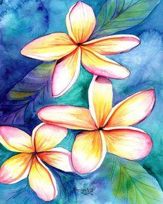 Plumeria print from Kauai Hawaii frangipani hawaii art Dot Painting, Watercolor Paintings, Watercolor Paper, Flower Paintings, Tropical Art, Tropical Flowers, Paint Paint, White Wall Art, Kauai Hawaii