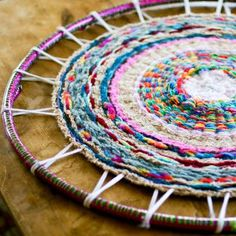 Kids in Stitches: Finger Knitting and Yarn Crafts for Kids | Finger Knitting Hula Hoop Rug from Stitch and Unwind and AllFreeKidsCrafts @AllFreeKnitting