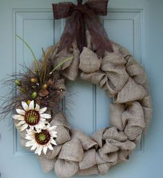 Burlap Wreath - Burlap Door Wreath on Etsy, $50.00