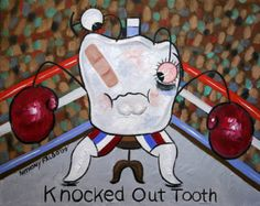 Knocked Out Tooth Original Painting Dental Art Teeth Dentist Anthony Falbo