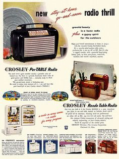 Crosley Radio advertising in 1947 shows that radios were now also portable. With battery power now inside you could at last take your radio anywhere you wanted to go.