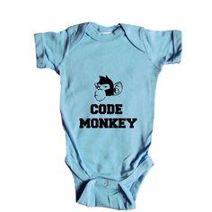 Code Monkey Coding Wifi Internet Nerd Computers Nerds Signal Online Connection Programmer Programming SGAL5 Baby Onesie / Tee