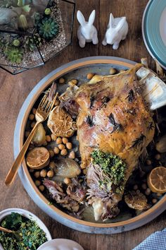 The perfect addition to your Easter feaster - slow-roasted lamb shoulder and chickpeas with preserved lemon, pistachio and mint pesto. Recipe here.