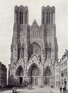 Black and white drawing by G. Simonau of the West Front of Rheims Cathedral, bombed in WWI.