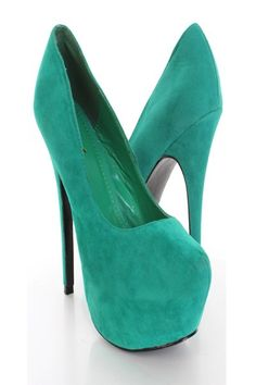 Annnnd a pair of teal/mint pumps!! Pinned a pin a while back of a girl with this color pumps & matching clutch, too cute. $25.99This is a very sexy pump heels featuring faux suede, pointed round closed toes, cushioned footbed, approximatley 2 inch covered platform, approximately 6 inch heels, and finished with smooth soles.