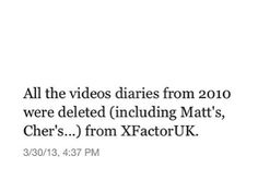 :'( Apparently X-Factor is no longer supporting Modest Management, so they deleted everything. This is a very depressing day....