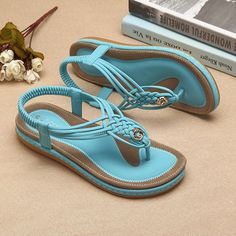 Handmade Knitting Clip Toe Elastic Flat Sandals is comfortable to wear.  Shop on NewChic to see other cheap women sandals on sale. ff40d21bc