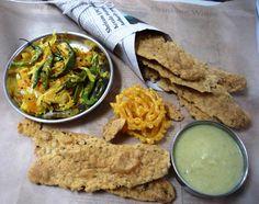 Jagruti's Cooking Odyssey: Fafda, Chutney kadhi ane Kacha papya no sambharo - Chickpea crisps,Spicy Chutney and Raw pappaya stirfry