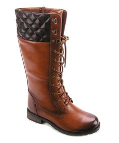 Look at this Betani Tan Amber Quilted Boot on #zulily today!