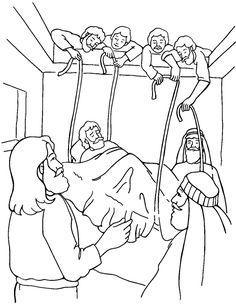 free coloring bible pictureof jesus healing the paralized man | Jesus Heals the Paralytic - Coloring Page