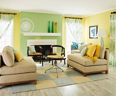 Interior Color Schemes, Yellow-Green Spring Decorating | Living room ...