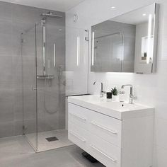 gray Bathroom Decor Gray Bathroom Ideas - Get influenced with these gray bathroom enhancing ideas. Modern Bathroom Design, Bathroom Interior Design, Bathroom Designs, Contemporary Bathrooms, Modern Design, Bathroom Flooring, Bathroom Furniture, Antique Furniture, Modern Furniture