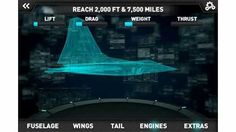 """Screen capture of a design schematic from """"Make It Fly: create your own Air Force planes"""" Android app."""