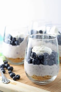 Individual no bake blueberry cheesecake needs to be your go-to summer dessert. So easy to make and so delicious!   honeyandbirch.com