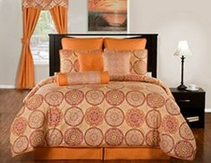 Moorish Modern Bedding by Victor Mill is made in the USA and is the perfect bedroom compliment for those who love geometric patterns in orange and gold circle abstract patterns.