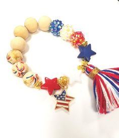 Star 4th of July Beaded Tassel Bracelet / US Bracelet/ Red White and Blue Jewelry/ Star Bracelet by TheRockinBead on Etsy