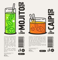 Product Development, Branding and Communication for Dr.Lemon's new Drinks. Poster Layout, Book Layout, Cocktail Illustration, Graphic Illustration, Graphic Design Posters, Graphic Design Inspiration, Plane Figures, Layout Design, Logo Design