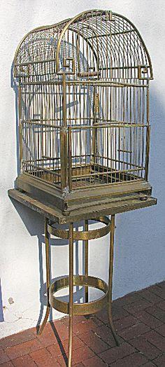 Giant Antique Brass Parrot Bird Cage
