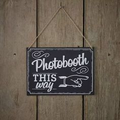 Krijtbord Photobooth this way