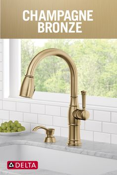Learn why your faucet finish is more than just the faucet color. Give your kitchen or bathroom a face-lift with a new faucet finish. White Kitchen Faucet, Stainless Steel Kitchen Faucet, Kitchen Faucets Pull Down, Bronze Kitchen, Kitchen Sink Faucets, Kitchen Handles, Delta Faucets, Champagne, Plumbing